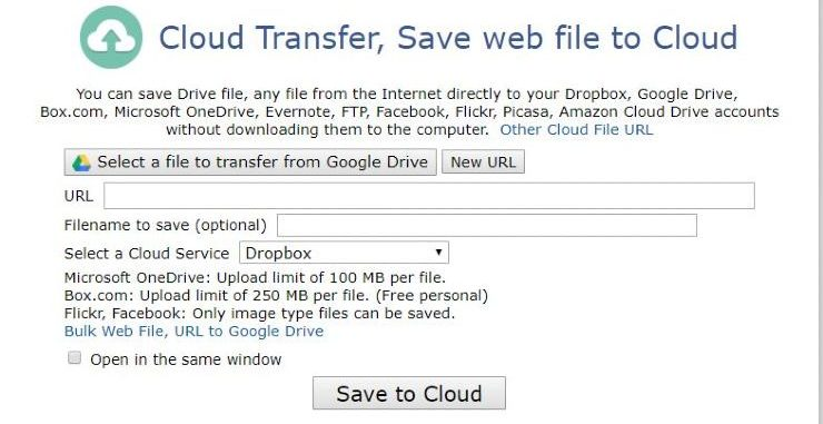 transfer files to google drive