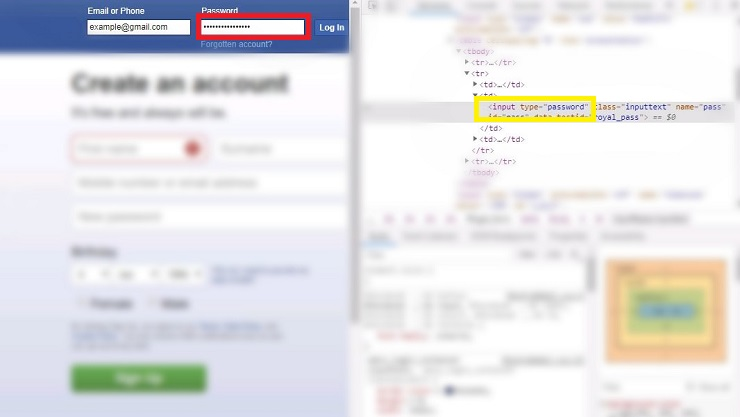 see facebook password using inspect element in chrome
