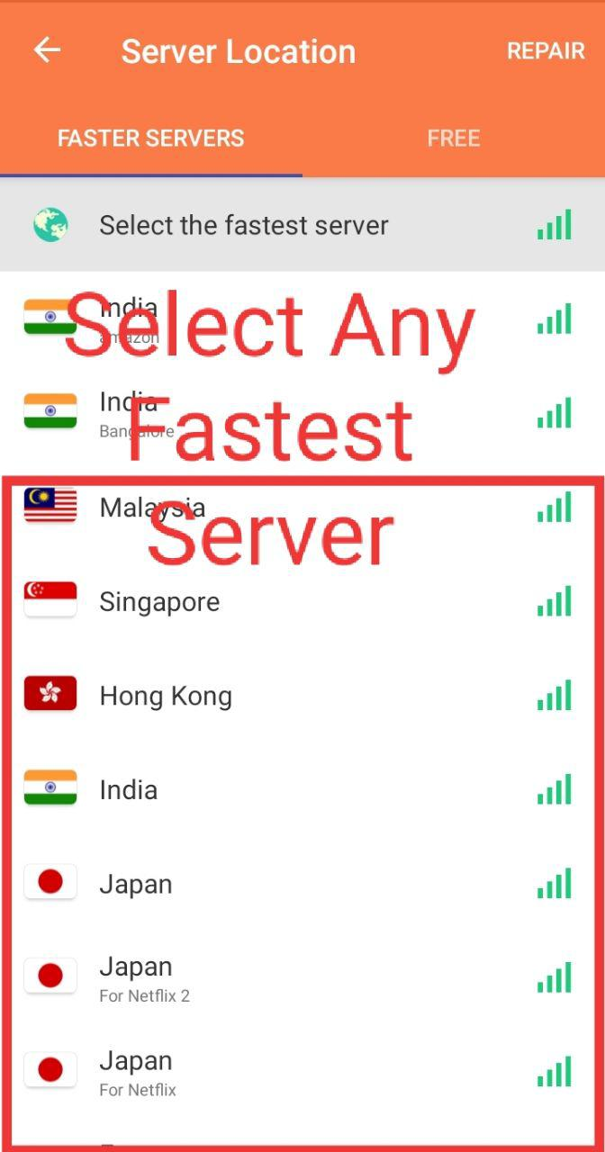 Movierulz VPN select the fastest server