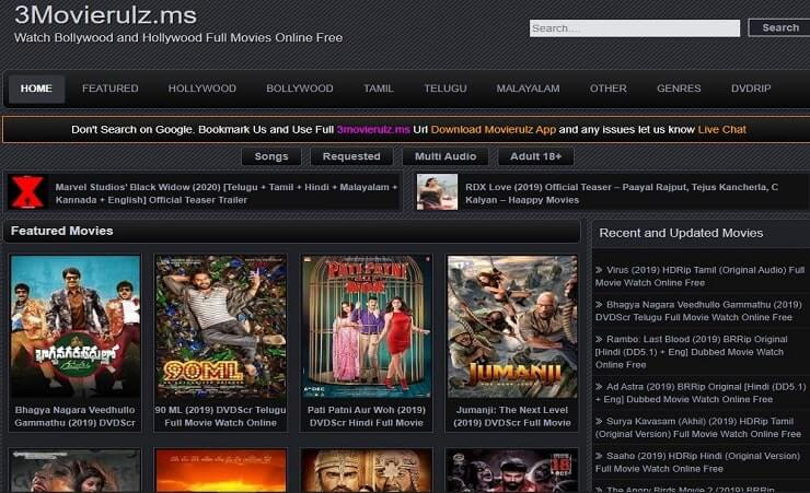 Latest download 3Movierulz ms website