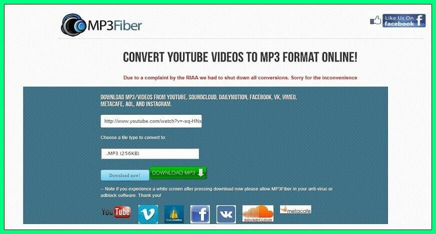 Mp3Fiber video convertor online