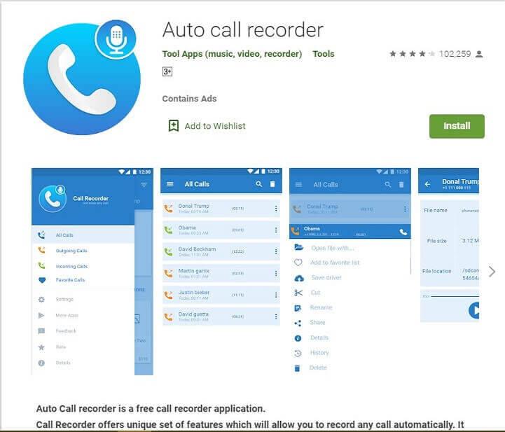 Auto Call Recorder to record voice calls