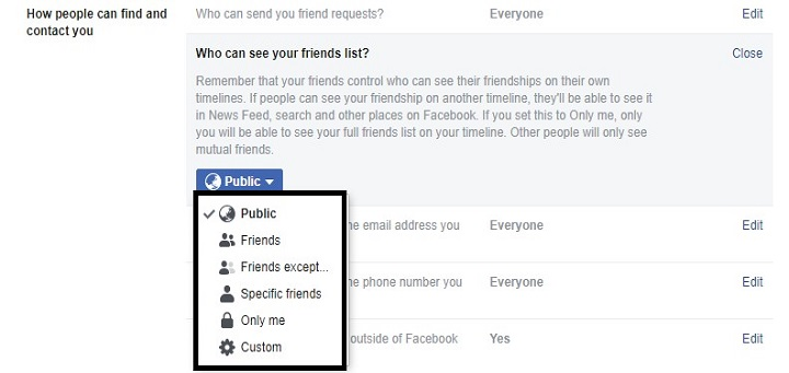 Friendlist options