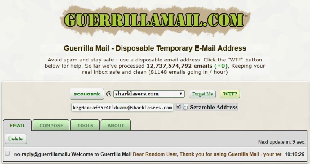 get fake email address on Guerrilamail