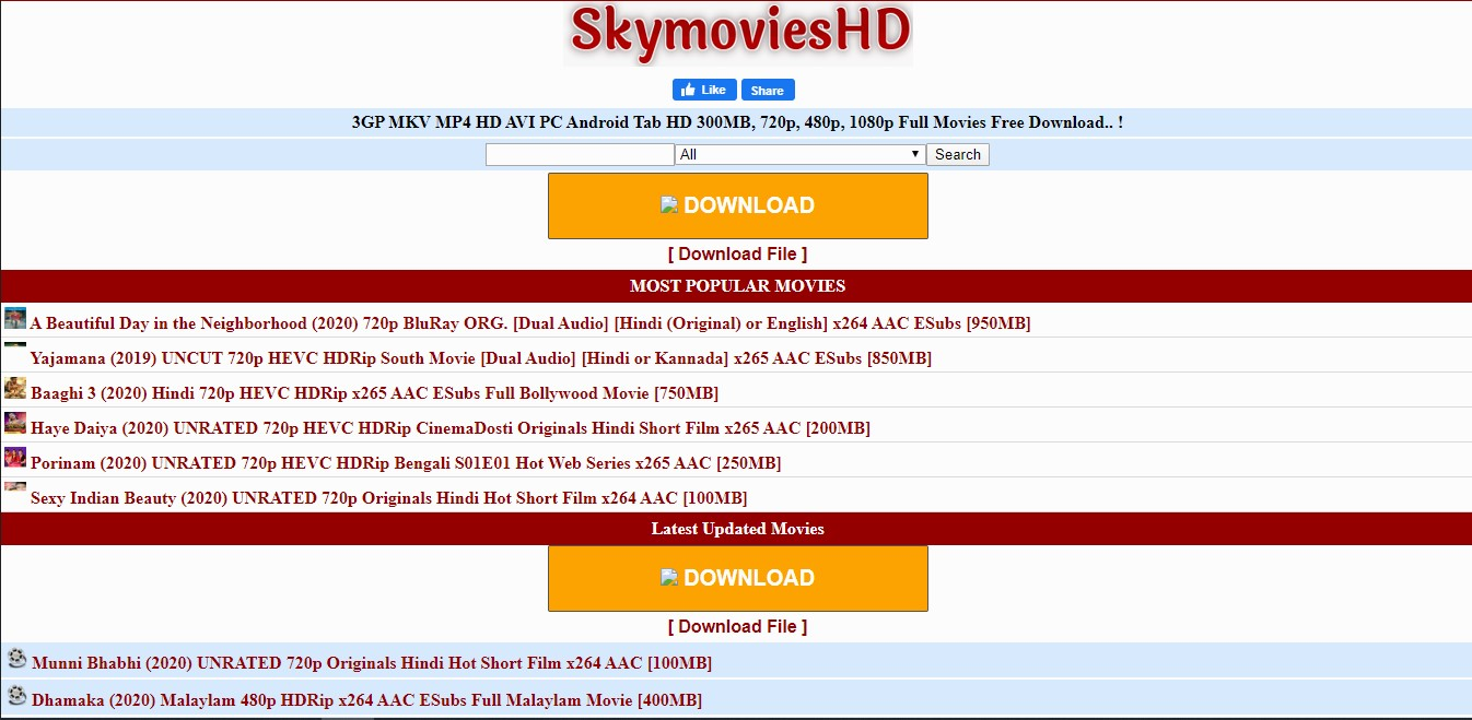 SkymoviesHD website 2020