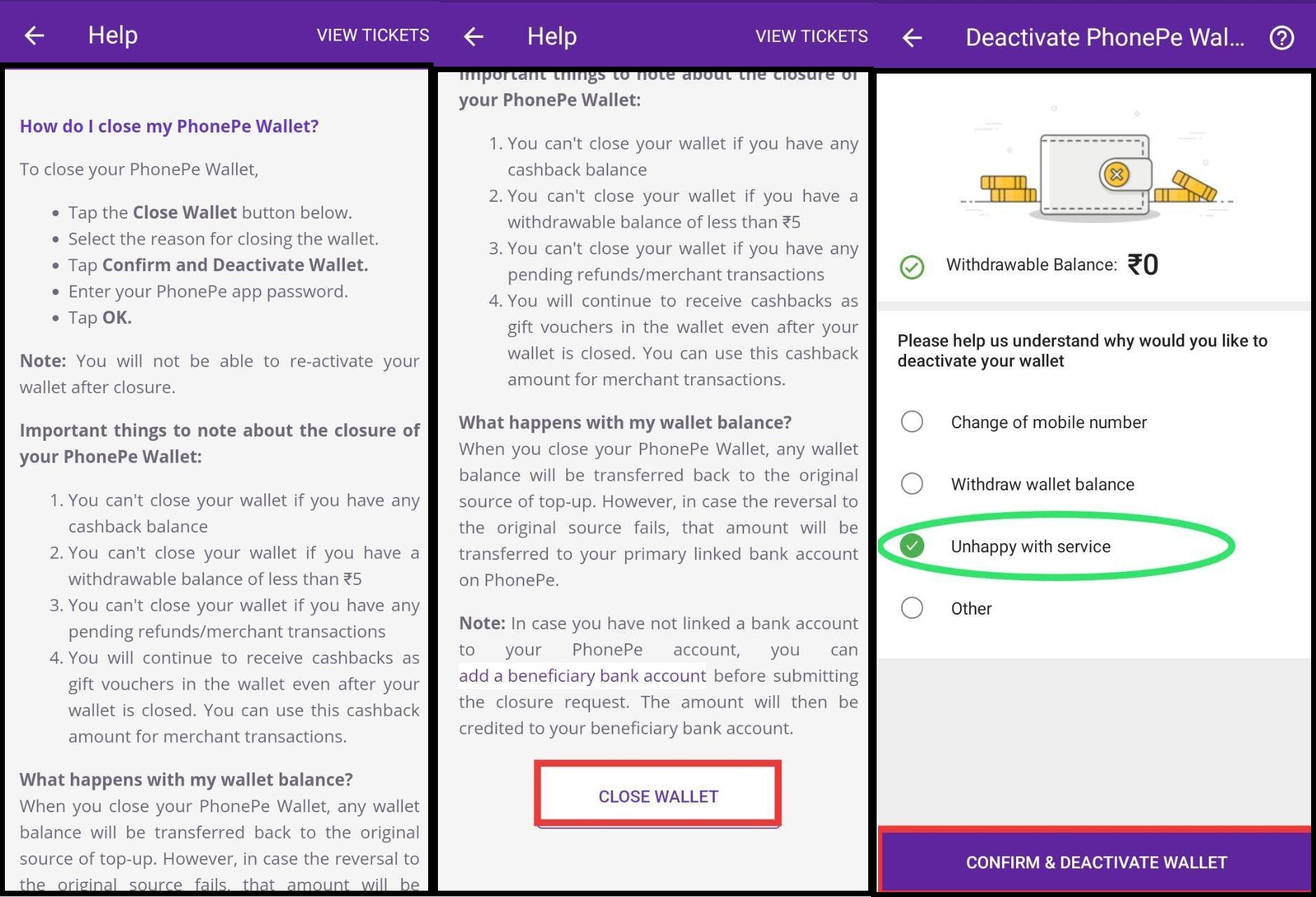 Phonepe Account deactivate and bank account unlink kare