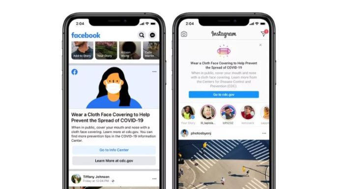 Facebook Instagram reminds to wear mask