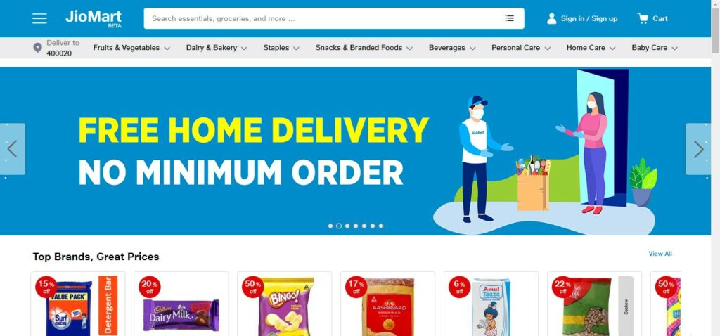 Jiomart free delivery with no minimum order requirement