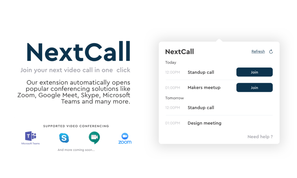 Nextcall launch is the combination of Google meet, Skype and Zoom