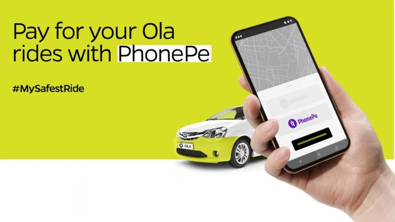 Ola users pay using phonepe for cab rides