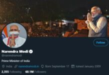 PM modi twitter followers rise upto 60 million followers