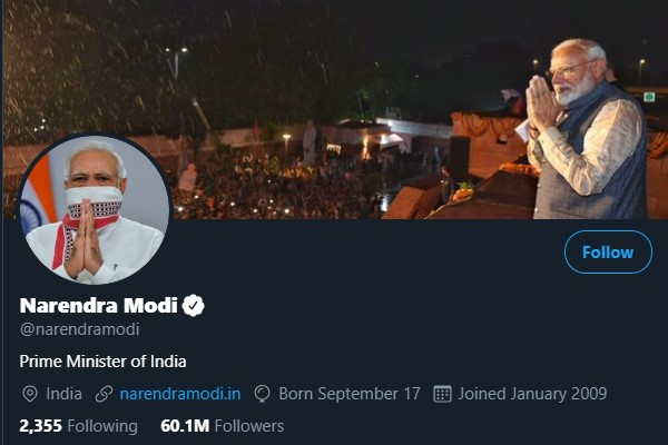 Prime minister modi's twitter followers rise upto 60 million followers