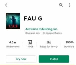 Faug Game Apk size on playstore similar to pubg and freefire