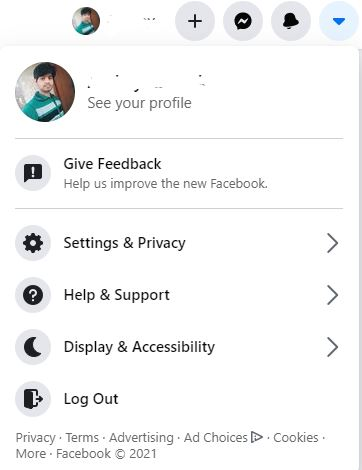 Open FB profile and click on dropdown