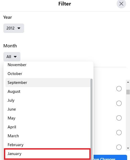 Select Month to find your oldest Facebook friend