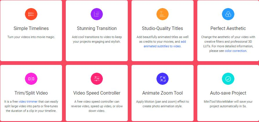 Features of MiniTool MovieMaker